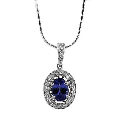 Oval Tanzanite & Diamond Pendant